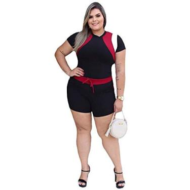 Conjunto Short E Blusa Feminina Plus Size Crepe De Malha Top