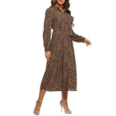 Vestido feminino MACLLYN de manga comprida com gola V e botão com estampa de leopardo., Marrom, 4