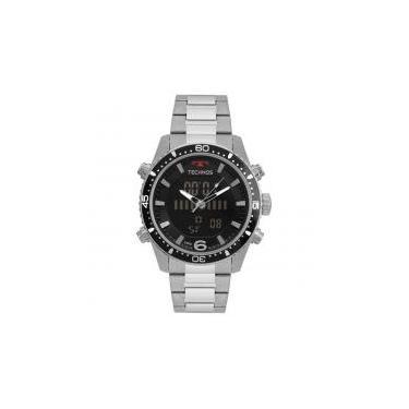 bcd0c897e5e51 Relógio Technos Masculino Anadigi BJK203AAC 1P Negativo Aço -