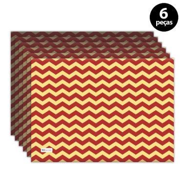 Imagem de Jogo Americano Mdecore Natal Chevron 40x28 cm Vermelho 6pçs