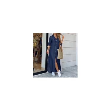 Zanzea feminino de manga comprida jeans de manga comprida com botão floral vestido com gola dividida vestido longo plus size Azul escuro S