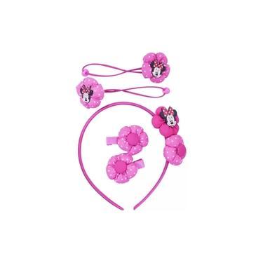 Jogo De Acessórios Para Cabelo Tiara Minnie Pink Disney