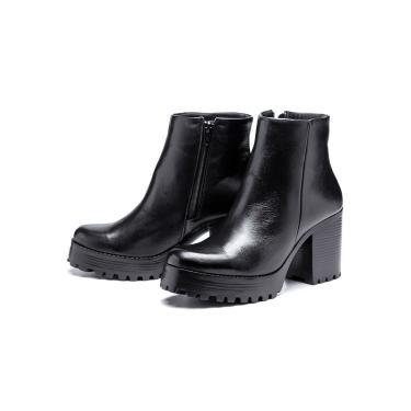 Imagem de Bota Coturno Plataforma Couro SB Shoes  Salto tratorado R.1700 Preto  feminino