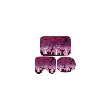 Imagem de (1/3/4 pcs) Roxo Céu Crânio Sepultura à Mão Decoração do banheiro Cortina de chuveiro à prova d'água 3 peças Tapetes antiderrapantes Tapetes Cobertura de assento de sanita Conjunto de tapete de banho 3pcs tapetes de banheiro