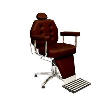 Cadeira de Barbeiro Reclinável Linea com Pentapé e Braço Estofado - Café