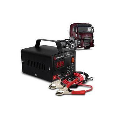 Carregador Bateria Automotivo Para Caminhão Shutt Bivolt 12v 5a 60w Com Voltímetro Digital