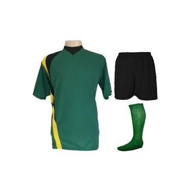 Uniforme Esportivo Completo modelo PSG 14+1 (14 camisas Verde/Preto/Amarelo + 14 calções Madrid Preto + 14 pares de meiões Verde + 1 conjunto de goleiro) +