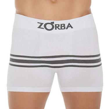 Cueca Boxer Zorba Seamelss Listras 843 GG Branco