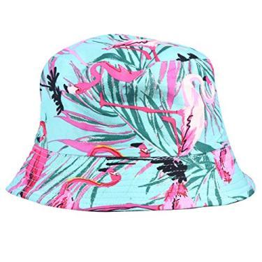 Chapéu de sol reversível com estampa de leopardo, chapéu de pescador com proteção solar para mulheres (flamingo verde)