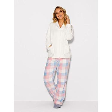 Pijama Longo Manga Longa Soft Romantic Off White GG