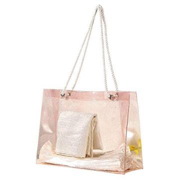 Imagem de Bolsa feminina de viagem portátil impermeável transparente bolsa de armazenamento de praia bolsas de plástico PVC bolsa feminina para natação (rosa/pequena)
