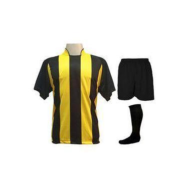 58ed939493cdc Fardamento Completo Modelo Milan Preto amarelo 12+1 (12 Camisas + 12 Calções