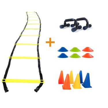 Kit Funcional Escada Agilidade Cones Chapéu Chinês Apoio para Flexão Yangfit
