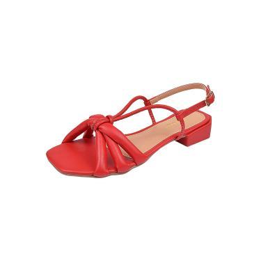 Imagem de Sandália Chyrrô Calçados Salto Baixo Vermelho  feminino