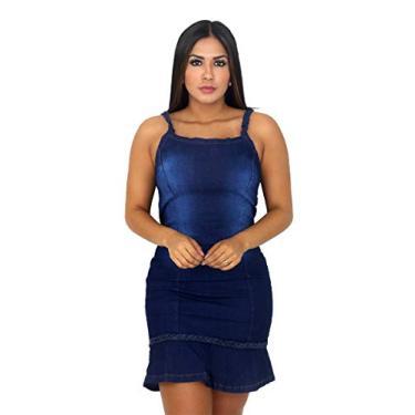 Vestido Jeans Feminino Com Alça (Azul Escuro, P)