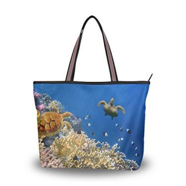 Bolsa Cooper Girl Tube Coral e Tartaruga Bolsa de Ombro Grande Capacidade, Multi, Large