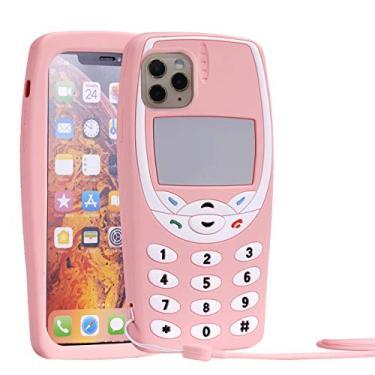 Mulafnxal 3D Nokiya Capa de silicone clássica para iPhone 12 Mini 5,4 polegadas, capa de desenho animado retrô 3D, capas de celular divertidas de borracha macia gel para crianças, protetor exclusivo divertido e legal para iPhone 12 Mini