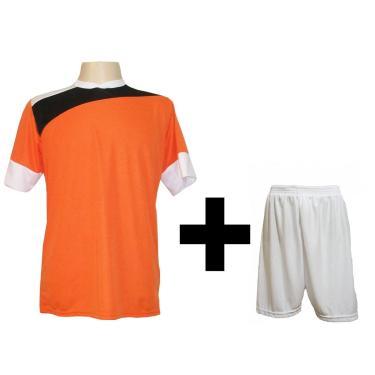 Imagem de Uniforme Esportivo Com 14 Camisas Modelo Sporting Laranja/Preto/Branco + 14 Calções Modelo Madrid Branco + Brindes
