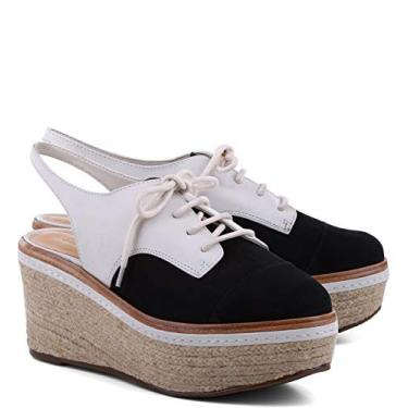 SCHUTZ Sapato alpargata Oxford Slingback Preto e Branco Colorblock da Azorina, Preto/creme, 11