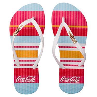 Sandálias Coca-Cola, Colored Lines, Branco/Branco, Feminino, 40