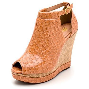 Imagem de Sandalia Anabela Batta Shoes Salto Alto Com Fivela Solado Antiderrapante Caramelo  feminino