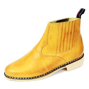 Bota Cano Curto em Couro Cla-Cle Amarelo  masculino
