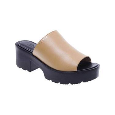 Sandália Fiever Mule Tratorada Couro Old Feminino - Tamanho Calçado(34) Cores(marrom/preto)