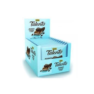 Chocolate Tablete Talento Recheado Cookies E Cream 90Gr 12Un