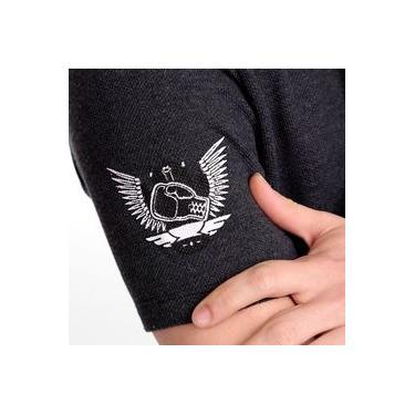 Camiseta Manga Curta L'unico - Modelo False V - Malha piquet - Algodão/Poliéster - cor cinza grafite