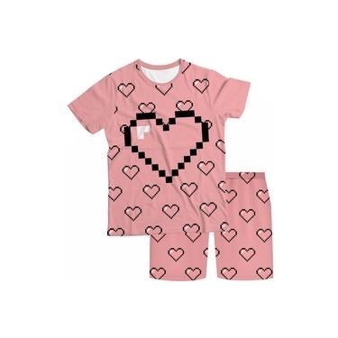 Pijama Infantil Coração Rosa PJMC