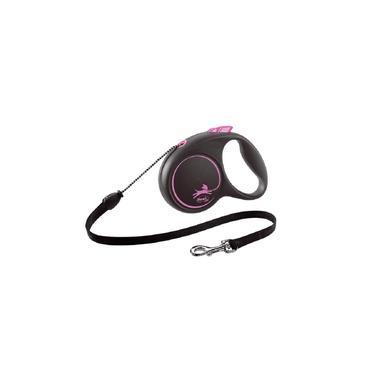 Guia Flexi Black Design Corda M 5M - Rosa Para Cães