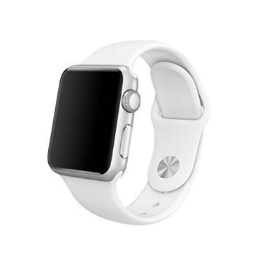 Pulseira Sport em Silicone para relógio Apple Watch 42mm Series 3 2 1 (Branco 42mm ML)