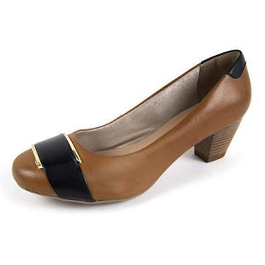 Sapato Scarpin Salto Grosso Linha Social Elegance Miuzzi - 3504 - Whisky