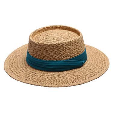 Esquirla Chapéu de palha feminino com proteção UV, Verde, 56/58 cm