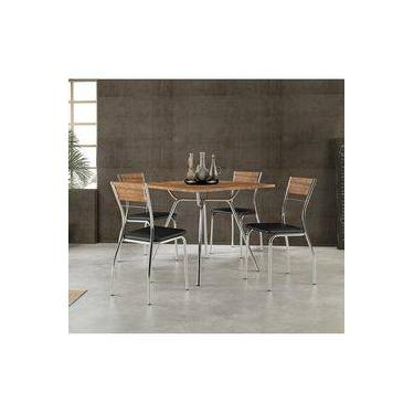 e908faeb0e Conjunto Mesa 1557 Native Touch com 4 Cadeiras Cromada 1721 Native Preta  Carraro