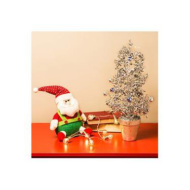 Árvore de Mesa com Cachepô Prateada, 43cm - Christmas Traditions