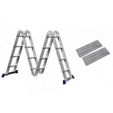 Escada Articulada 16 Degraus 4x4 Multifuncional Com Plataforma   Mor