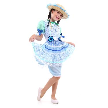 Imagem de Fantasia Caipira Flor Azul Infantil - Festa Junina P
