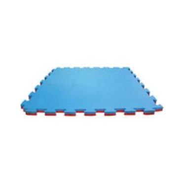 Kit 10 Tapete Tatame EVA grande 100x100x3cm 1x1 30mm Bicolor Vermelho com Azul