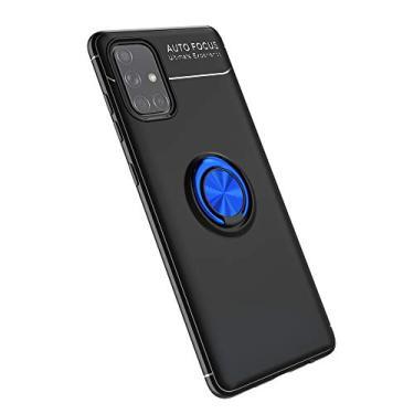 Cellular Capa para Samsung Galaxy A71(5G)/A Quantum Capa Case Anel Suporte Magnético Protetor de Suporte TPU + ABS Silicone Capa Anti-queda Atualização função de suporte Caso Cell Case:Preto Azul