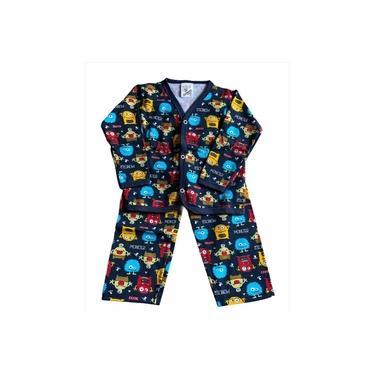 Pijama Infantil Flanela Estampado Menino Monster Azul