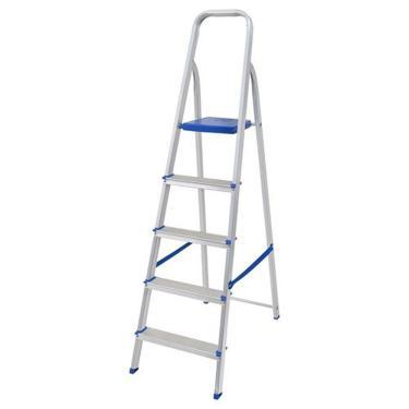 Imagem de Escada de Alumínio Mor 5 Degraus Até 120 Kg 5103 - Prata
