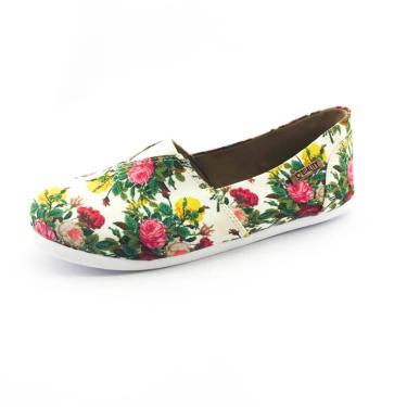 Alpargata Quality Shoes 001 Floral 209 Branca  feminino