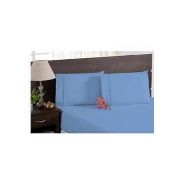 Imagem de Jogo de Cama Percal 200 Fios 100% Algodão Azul 5 Peças Casal Padrão Com Lençol de Elástico e Travesseiros Ortobom