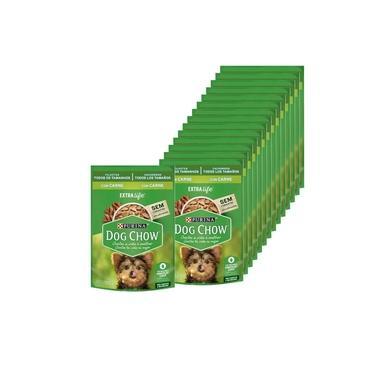 Ração Úmida Dog Chow Cães Filhotes Sabor Carne 100g - 15 unidades