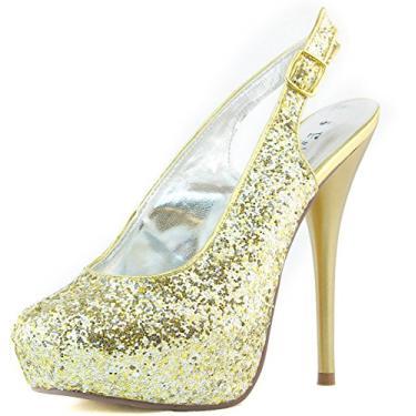 Imagem de Sandália feminina plataforma salto alto amêndoa bico redondo com glitter tira no tornozelo com alça traseira sapato fashion, Dourado, 6