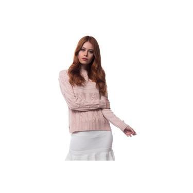 Blusa Logan Tricot Feminina Haran Rendada Conforto Dia a Dia Rosa Nude