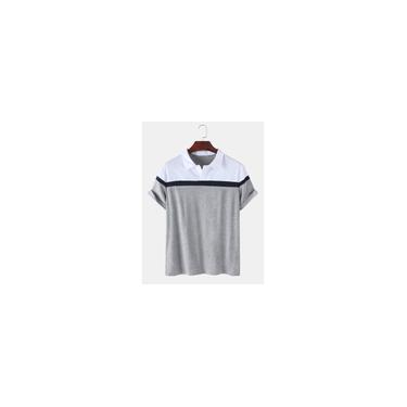 Masculino Colorblock Casual Esporte Manga Curta Camisetas Golf