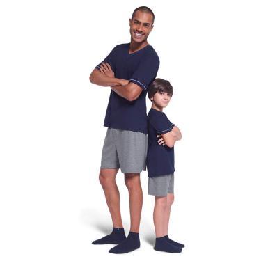 Conjunto de pijama Curto com Gola V, Lupo, Meninos, Azul Marinho, 16