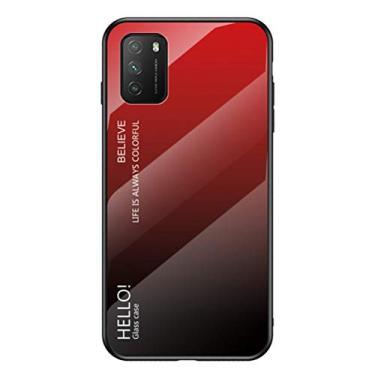 """MOONCASE Capa para Xiaomi Poco M3, TPU ultra fino macio + vidro transparente + padrão de cor gradiente anti-impressão digital resistente a arranhões para Xiaomi Poco M3 6,5"""" - Vermelho"""